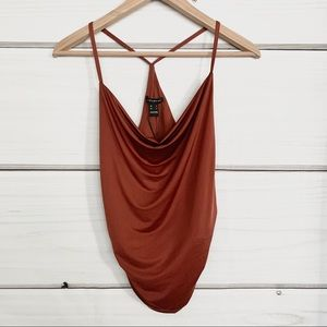 New Rust Coloured Cowl Neck Top Small